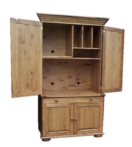 Armoire ordinateur ouverte produit de bois fabriqu for Meuble armoire informatique